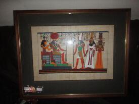 Large Egyptian Wooden Framed Art
