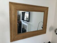 A GREAT LOOKING MODERN ANITIQUE STYLE PINE MIRROR IN GOOD USED CONDITION