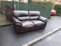 2 seater sofa in brown leather £125