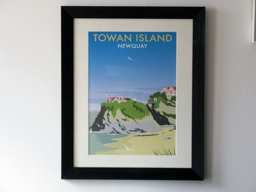 Towan Island Newquay print in a 20 x 16-inch black frame | in ...