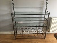 Wine Rack Glass / Iron 32 Bottles Shelves / Console Freestanding