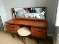 G-plan dresser dressing table with mirror and original stool gplan