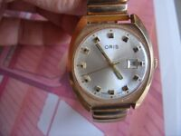 Oris glod plated watch
