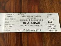 SOLD SOLD SOLD 2x Miss Saigon Tickets, Stalls, Edinburgh Festival Theatre, 7.30pm Sat 17th Feb