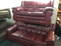 Wine Leather 3 and 2 sofas