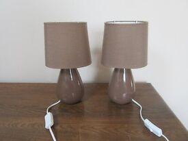 Pair of brown bedside lamps