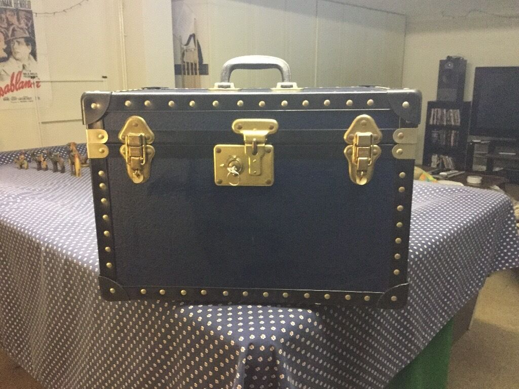 Tuck Box, old fashioned boarding school stylein Godalming, SurreyGumtree - Old fashioned style boarding school tuck box made by World Range Trunks of London and Southend. Virtually as new condition including original lock and key in working order. Navy blue with black trim. Size, 46cm wide x 30cm deep x 32cm high