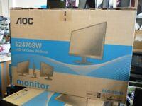 """AOC E2470SW Monitor 23.6"""" Monitor 1920res 1mS 1ms. HDMI, DVI, VGA"""