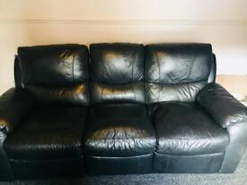 Leather and faux leather black 3 and 2 seater settees