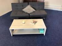 Grey Sofa chair bed x 2 and coffee table