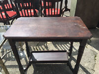 APPEALING VICTORIAN SOLID OAK RUSTIC 2 TIER CONSOLE HALL TABLE