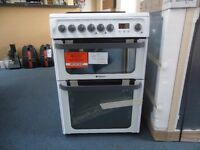 NEW GRADED HOTPOINT 60 WIDE WHITE FREESTANDING COOKER W/ELECTRIC HOB REF: 31041