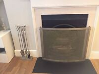 Stainless Steel Fireplace Screen & Tools