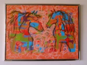 "NEW 2 HORSES 30x40"" Framed Original Art Abstract Large Painting Horse Riding Koudelka Oakville Orange Turquoise Racing"