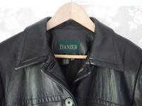 Genuine Danier ladies' black leather jacket size L/XL in VGC