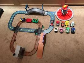 Paw Patrol Adventure Bay Train Track Set and Lookout tower Launch n roll with 9 Racers and 3 figures