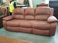 Suede three seater recliner sofa with rocking recliner chair
