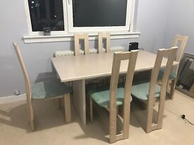 Light Ash dining table and 6 matching chairs