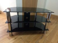 TV Stand - 3 tier black glass & chrome