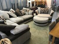 LARGE CORNER SOFA WITH CIRCULAR SWIVEL CHAIR AND STOOL