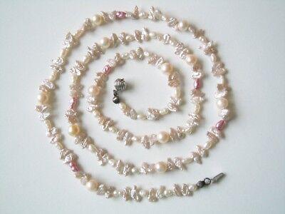 Perlenkette Kette Kugeln/Nugget Mix Perlen m.835 Silber Verschluß 17,7 g/71 cm