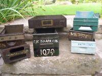 Metal storage drawers/boxes x 7. Great for garage/workshop storage. Industrial style.