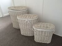 Beautiful white wicker laundry baskets john lewis with inner lining set of three different sizes
