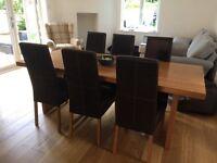 Dark mango style wood table & chairs