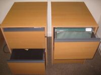 2 draw wooden finished lockable filing cabinets