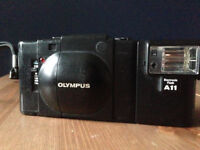 Olympus XA with A11 flash and amazing vintage red case!