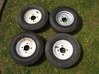 "4 of 400 x 8"" trailer wheels"