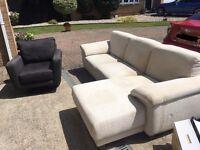 $$ FREE Cream Sofa and Grey Swivel Chair FREE $$