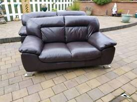 3 & 2 DARK BROWN LEATHER SUITE .....ARM CHAIR & CUSHIONS