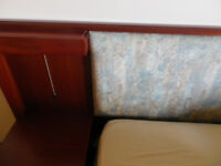 Headboard for kingsize bed, includes side cabinets and chest drawers