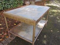 VINTAGE 'OLD' INDUSTRIAL TABLE ~ VERY HEAVY AND RUSTY £20 07739 329 389