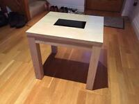 Solid Ash and Black Glass Coffee Table