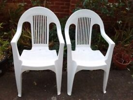 2 Plastic High Back Chairs