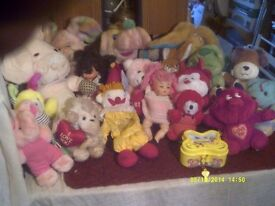 20 SOFT TOYS in ONE SACK , ANOTHER 10 , PLUS 2 WHOPPERS & a SORT OF CIRCUS TOY ? ?