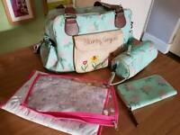pink lining changing bag and purse set