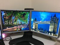 2x HP 19 inch monitors + Ergotron Dual Lift Stand + all cables