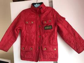 Red quilted Barbour jacket age 2-3