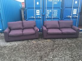 DFS EX DISPLAY Zuma Fabric Range purple 3 seater sofa with two seater Sofa to match RRP £1295