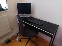 Black gloss desk & office Chair