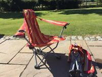 Pair of 2 Kelsyus folding back pack beach chairs with armrests , camping holidays car boot