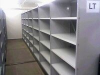 50 bays of white industrial shelving 2.8m high ( pallet racking /storage).