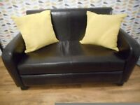 REAL LEATHER 2 SEATER SOFA **DARK BROWN**LIKE NEW**