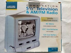 Combination 5 1/2 inch television &am/FM radio ideal for PlayStation ect.still boxed.