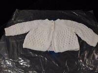 Brand new white and pink hand knitted cardigans