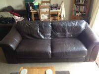 Dark brown large leather 2 seater sofa