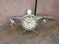 Antique style tin plate plane clock